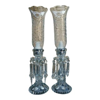 Antique French Cut Crystal/ Glass Table Lamps by Baccarat - a Pair For Sale