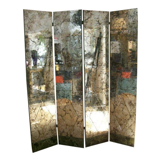 Four-Panel Old and Distressed Mirrored Screen For Sale