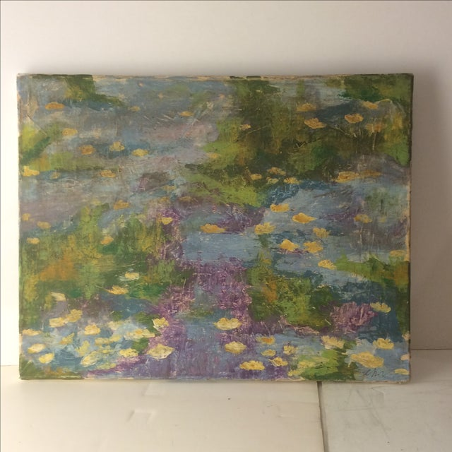 Impressionist Lily Pad Painting - Image 2 of 8