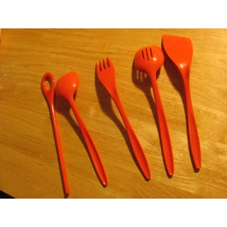 Red Rosti of Denmark Serving Utensil Set Mid Century Plastic Mepal - Set of 5 Preview