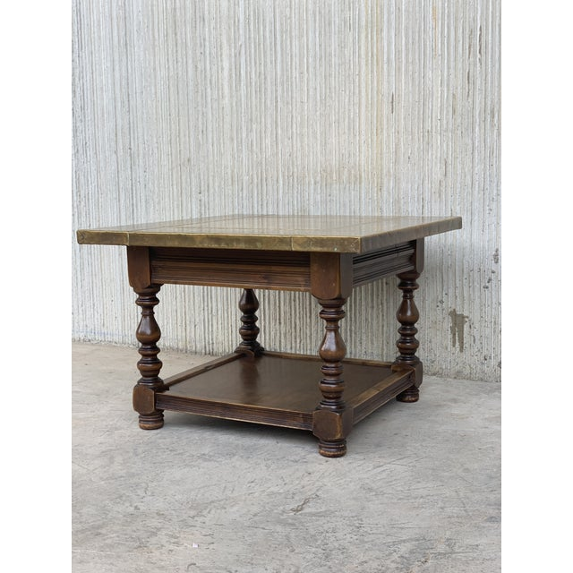 About 19th Spanish zinc top coffee or center table with turned legs and lower tray. Details OF THE PERIOD Spanish Colonial...