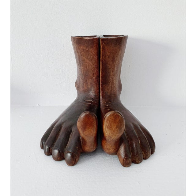 Brown 1960s Vintage Hand Carved Wooden Feet Sculpture - 2 Pieces For Sale - Image 8 of 9