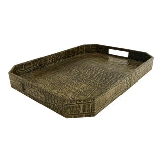 Large Octave Faux Croc Leather Tray For Sale