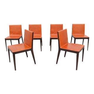 Antonio Citterio for B&b Italia Brown Leather and Oak El Dining Chairs - Set of 6 For Sale