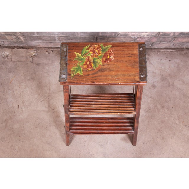 Vintage Hand-Painted Wooden Step Ladder For Sale - Image 4 of 10