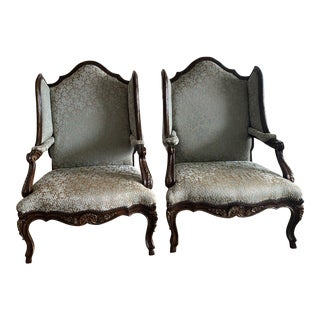 Marge Carson Palais French Louis XV Wing Bergere Armchairs - a Pair For Sale