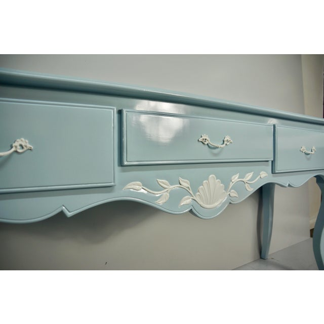 Mid 20th Century French Carved Blue & White Lacquered Console Table For Sale In West Palm - Image 6 of 9