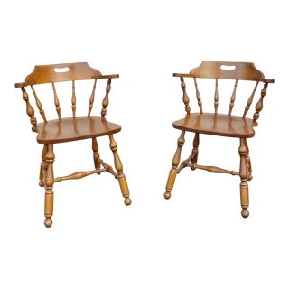 1980s Vintage Ethan Allen Heirloom Nutmeg Maple Mate's Chairs - A Pair For Sale