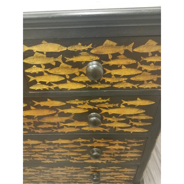 Antique English Fish Decoupage Chest of Drawers For Sale In Dallas - Image 6 of 13