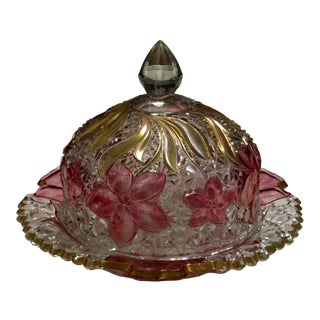Vintage Lead Crystal Domed Cheese Plate For Sale