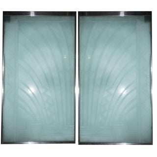 Custom Art Deco Glass Doors - a Pair For Sale