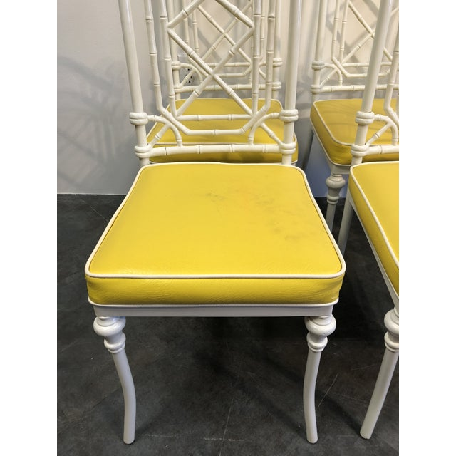 Yellow 1960s Vintage Kessler for Thomasville Iron Bamboo Chairs - Set of Six For Sale - Image 8 of 12
