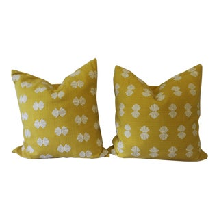 Yellow and White Pillows- A Pair For Sale