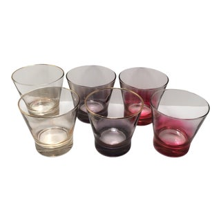 Vintage Ombre Colored Lo-Ball Cocktail Glasses - Set of 6