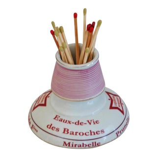 Chic Parisian Cafe Bar French Porcelain Match Striker & Holder For Sale