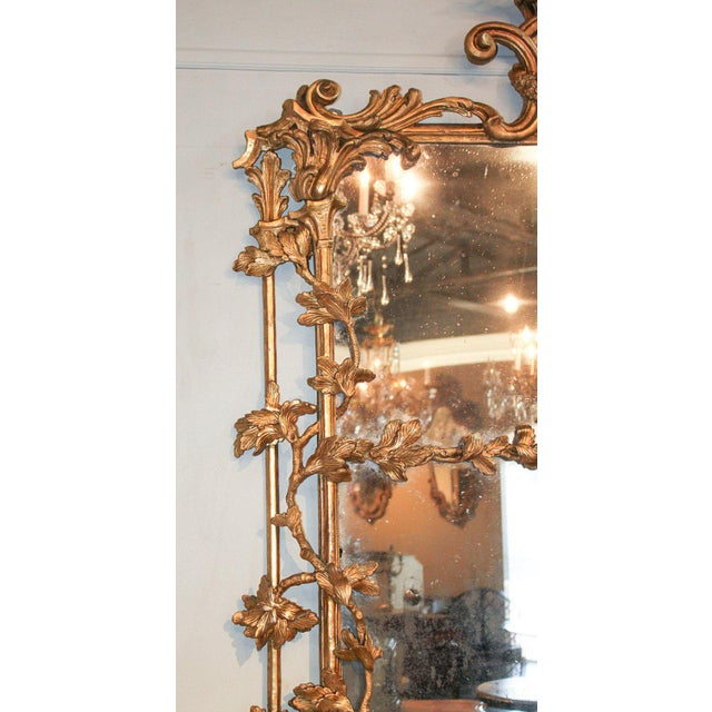 Rare Early 19th Century English Chippendale Gilt Mirror For Sale - Image 4 of 10