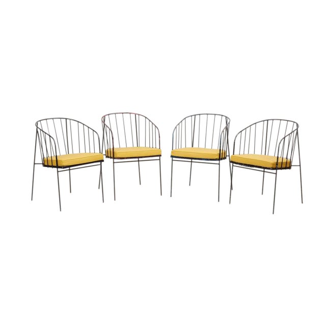 Set of Four Iron Rod Outdoor Chairs by George Nelson for Arbuck, 1950s For Sale
