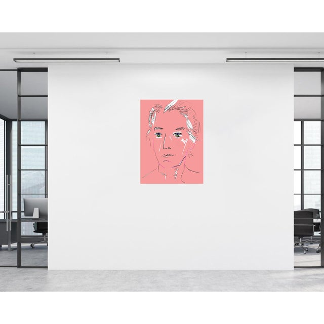 """2020s """"Pink Lady"""" by Trixie Pitts Original Print on Heavy Paper For Sale - Image 5 of 13"""