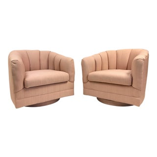 Pair Swivel Lounge Chairs Style of Milo Baughman For Sale