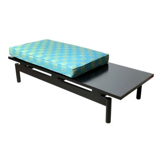 Modernist Ebonized Low Floating Bench With Original 1950s Upholstered Seat Cushion For Sale