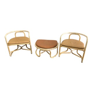 Vintage Mid Century McGuire Furniture Rattan & Leather Patio Lounge Set- 3 Pieces For Sale
