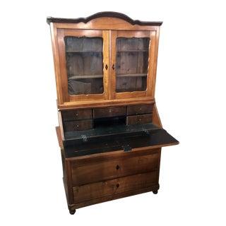 Antique Early 19c Biedermeier Austrian Country Secretary Bookcase Desk For Sale