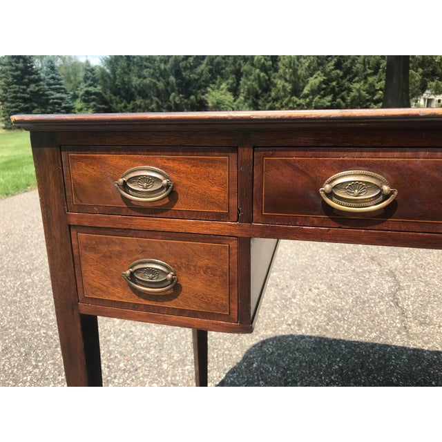 Wood Barrel Back Walnut Desk With Leather Top Made by Baker Furniture For Sale - Image 7 of 11
