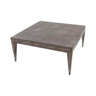 Faux Shagreen Charcoal Coffee Table For Sale