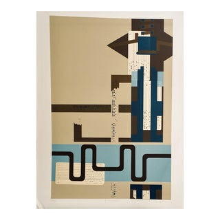 """Late 20th Century """"Modern Collage 1"""" Abstract Screen Print Numbered 10/250 by Lee Adler For Sale"""