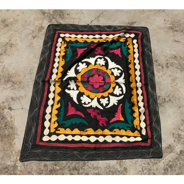 Vintage Small Handmade Suzani Fabric Table Cover For Sale In Los Angeles - Image 6 of 7