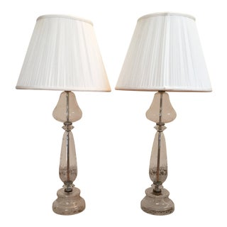 Vintage Crystal Table Lamps With Floral Etching - a Pair For Sale