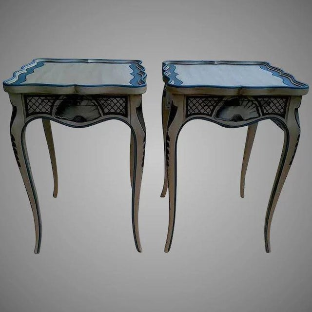 Tea Tables With French Style Paint Cabriole Legs and Candle Slides - a Pair For Sale - Image 11 of 11