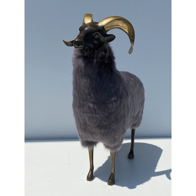 Mid-Century Modern Late 20th Century Brass Sheep Sculpture In the Style of Claude Lalanne For Sale - Image 3 of 13