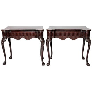 Pair of Irish Chippendale Carved Mahogany Concertina Card Tables For Sale