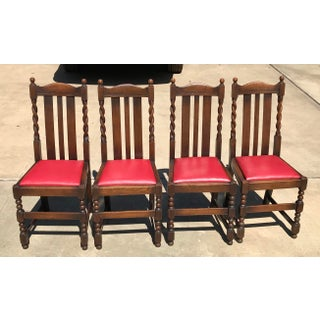 Early 20th Century Vintage Barley Twist and Bobbin Oak Dining Chairs - Set of 4 Preview