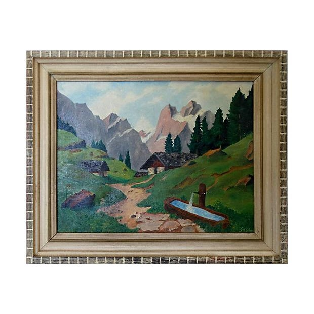Mid-Century Mountain Scene Oil Painting - Image 1 of 7
