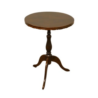 Ethan Allen Italian Bookmatched Mahogany Oval Pie Crust Plant Stand / Accent Table For Sale