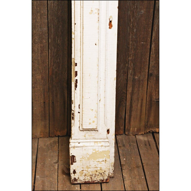 Antique Original Chippy White Painted Wooden Fireplace Mantel - Image 10 of 11