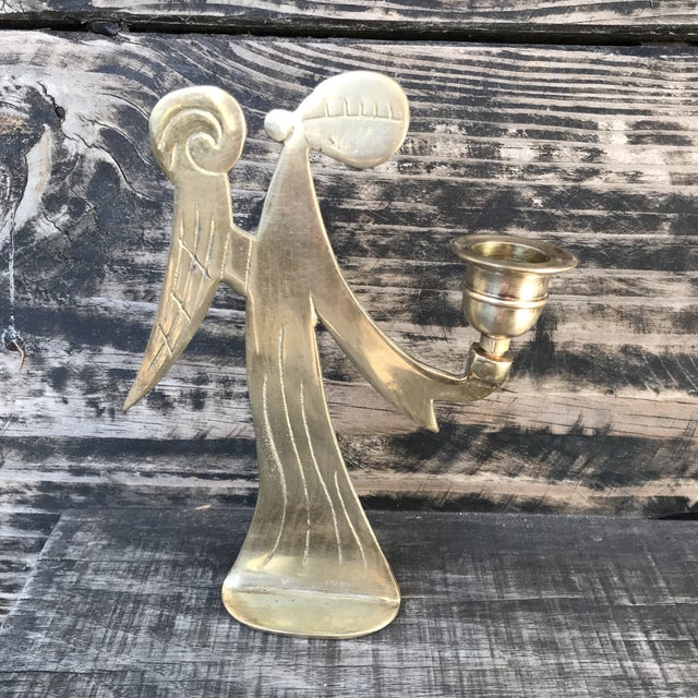 Mid-Century Modern Brass Angels Candlestick Holders - Set of 3 For Sale - Image 4 of 12