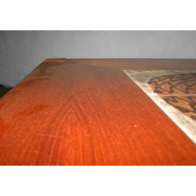 Modern Wooden Coffee Table with Tile Insert For Sale - Image 6 of 10