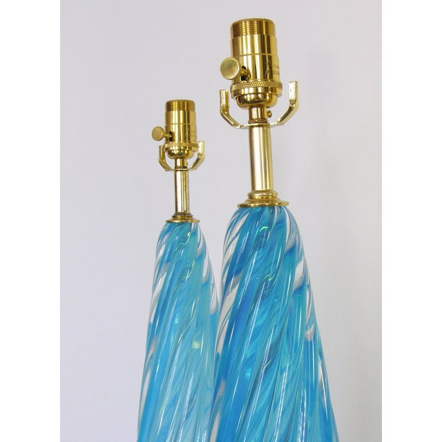Murano Barovier & Toso Blue and Gold Italian Murano Glass Mid-Century Modern Table Lamps Venetian Italy- a Pair Millennial For Sale - Image 4 of 11