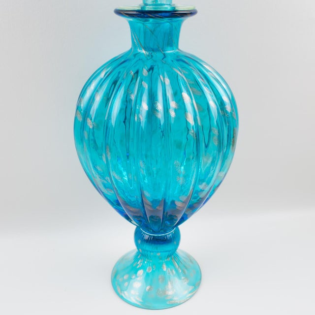 Turquoise Italian Empoli Hand Blown Turquoise Glass Lidded Apothecary Jar Dispenser For Sale - Image 8 of 13