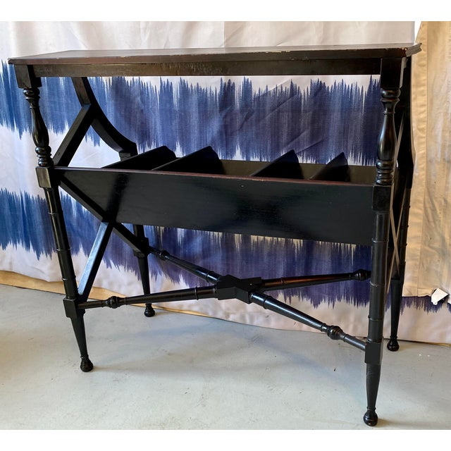 Vintage Distressed Black Open Storage French Console Table Wood For Sale In West Palm - Image 6 of 12