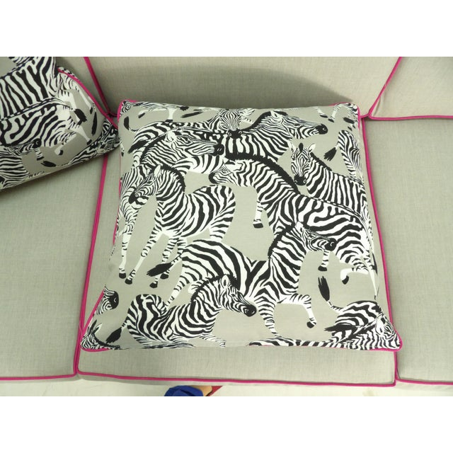 Zebra Pillows, Custom Made with Hidden Zipper - a Pair For Sale - Image 4 of 6