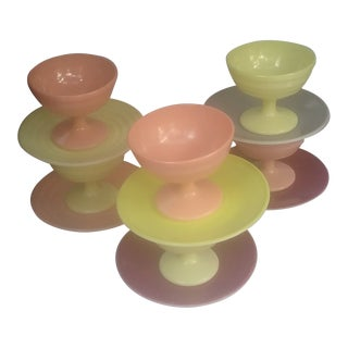 Anchor Hocking Sherbert Hued Dessert Cups and Saucers - 12 Pieces For Sale