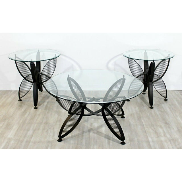 For your consideration is a wonderful pair of iron butterfly patio tables with glass tops, by Maurizio Tempenstini for...