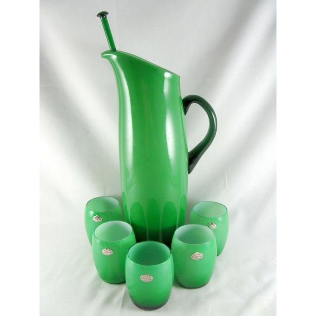 Empoli Cased Green Glass, Swizzle, Verde, Martini Cocktail Pitcher Set - 7 Piece Set For Sale - Image 12 of 12