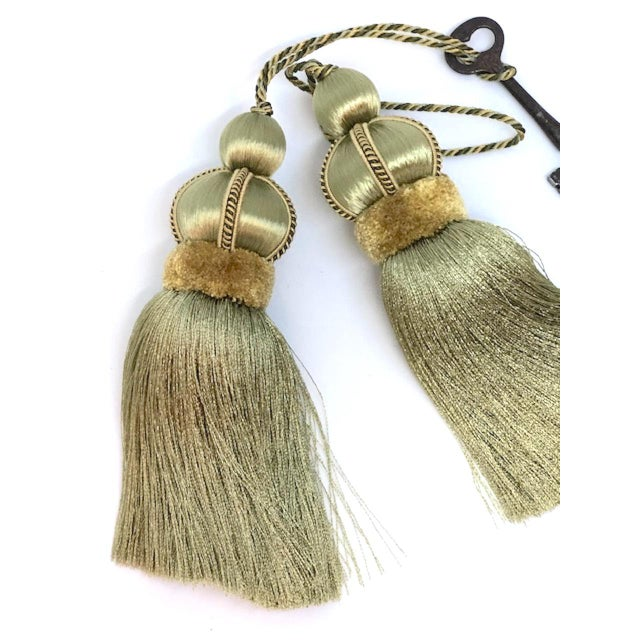 Green Olive Green Key Tassels With Cut Velvet Ruche - a Pair For Sale - Image 8 of 11