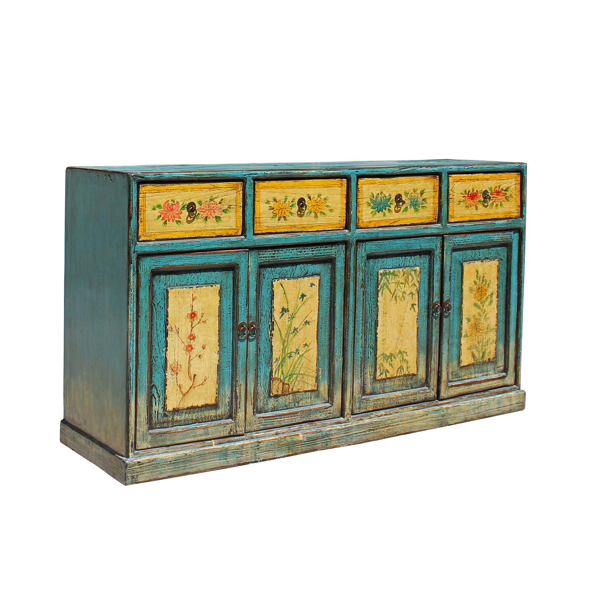 Distressed Rustic Light Blue Yellow Sideboard Console Table Cabinet Chairish