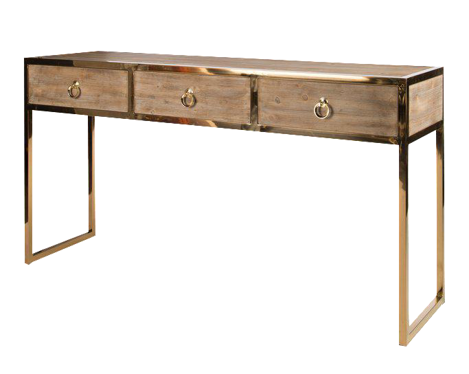 Wooden Console Table With Gold Legs For Sale